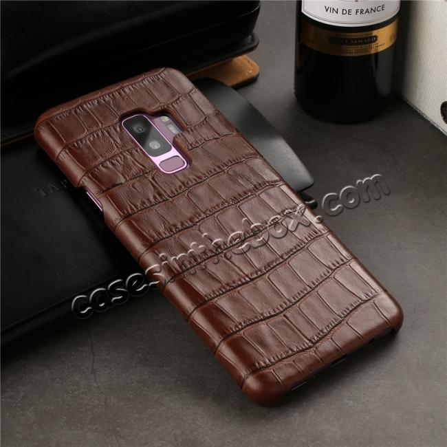 low price Luxury Genuine Real Leather Crocodile Back Case Cover For Samsung Galaxy S9 - Brown
