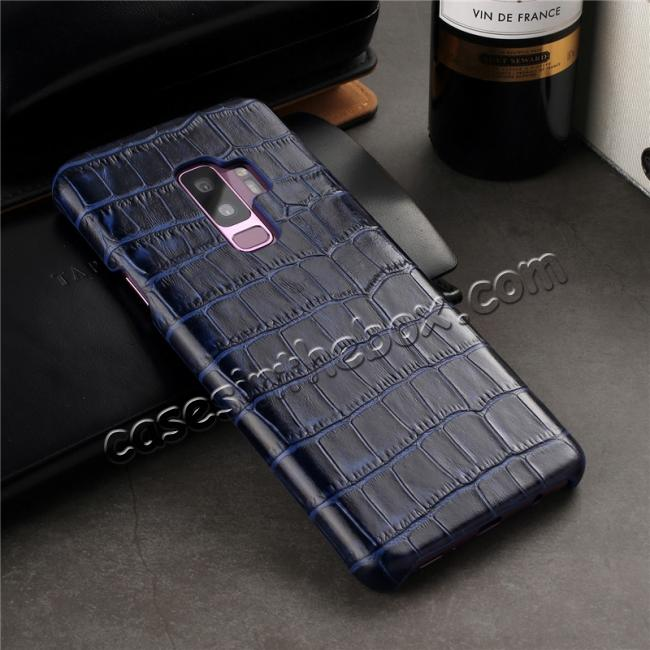 on sale Luxury Genuine Real Leather Crocodile Back Case Cover For Samsung Galaxy S9 - Dark Blue