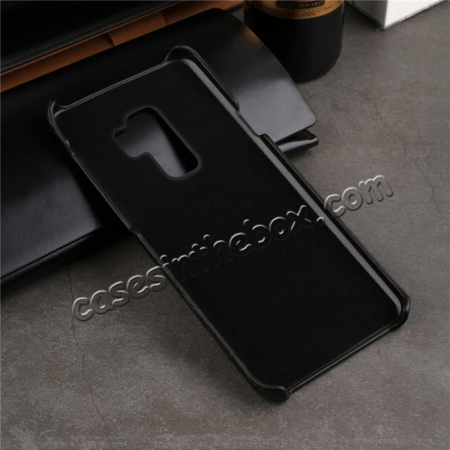low price Luxury Genuine Real Leather Crocodile Back Case Cover For Samsung Galaxy S9 - Dark Blue