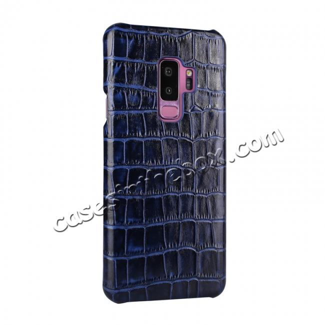 discount Luxury Genuine Real Leather Crocodile Back Case Cover For Samsung Galaxy S9 - Dark Blue