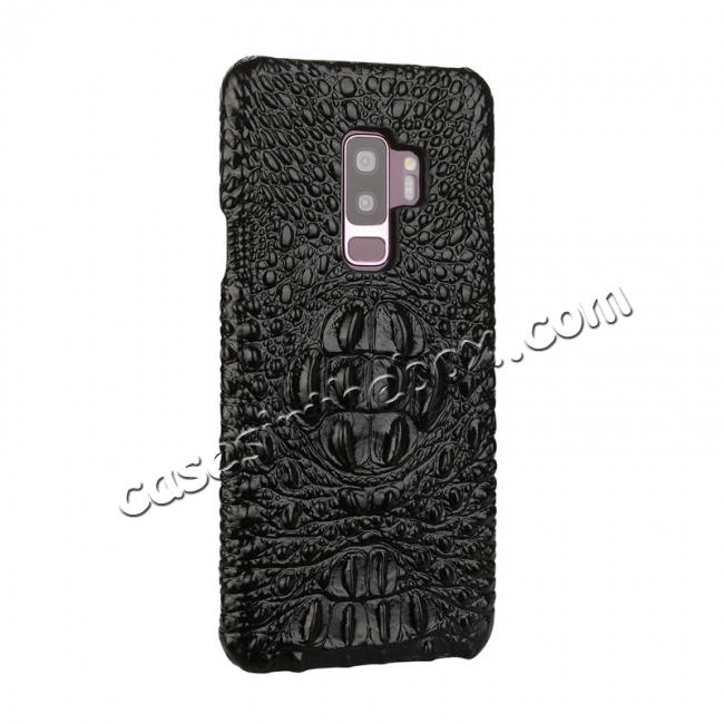 discount Luxury Imitation Crocodile Head Genuine Leather Phone Case For Samsung Galaxy S9+ Plus - Black
