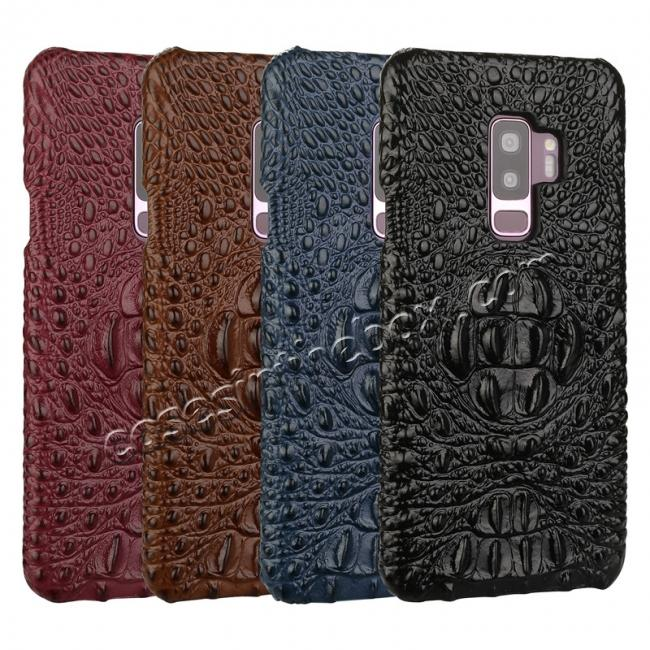 low price Luxury Imitation Crocodile Head Genuine Leather Phone Case For Samsung Galaxy S9+ Plus - Brown