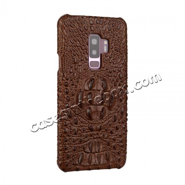discount Luxury Imitation Crocodile Head Genuine Leather Phone Case For Samsung Galaxy S9+ Plus - Brown