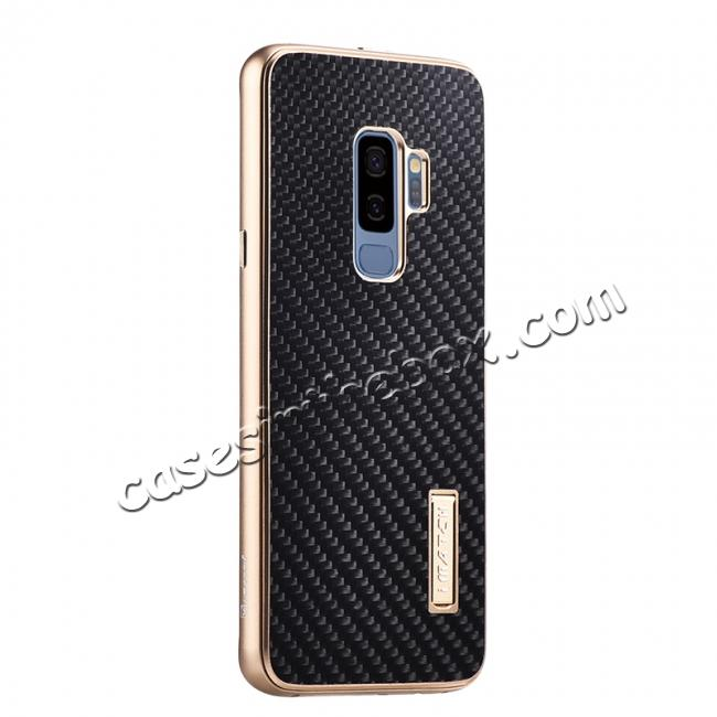 wholesale Aluminium Bumper Carbon Fiber Back Case For Samsung Galaxy S9 - Gold&Black