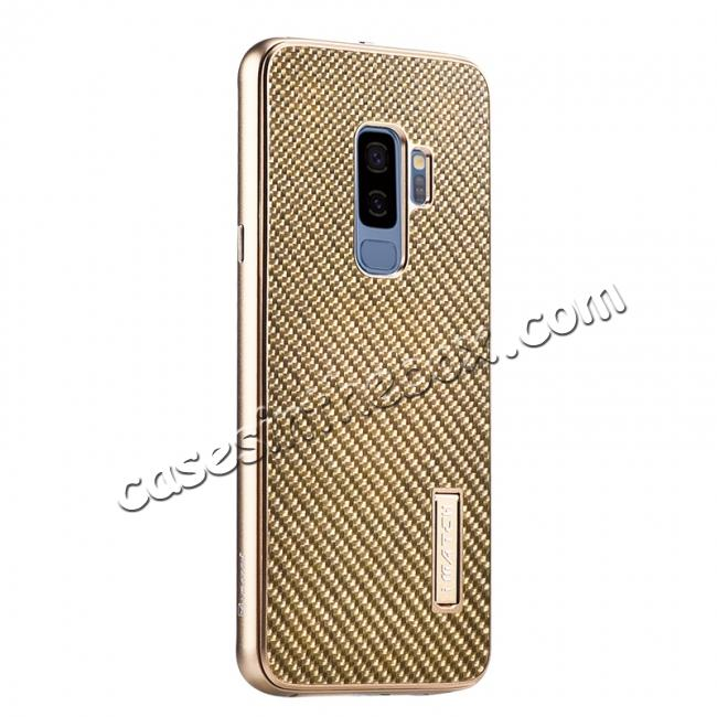 wholesale Aluminium Bumper Carbon Fiber Back Case For Samsung Galaxy S9 - Gold