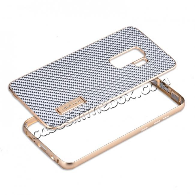 top quality Aluminium Bumper Carbon Fiber Back Case For Samsung Galaxy S9 - Gold