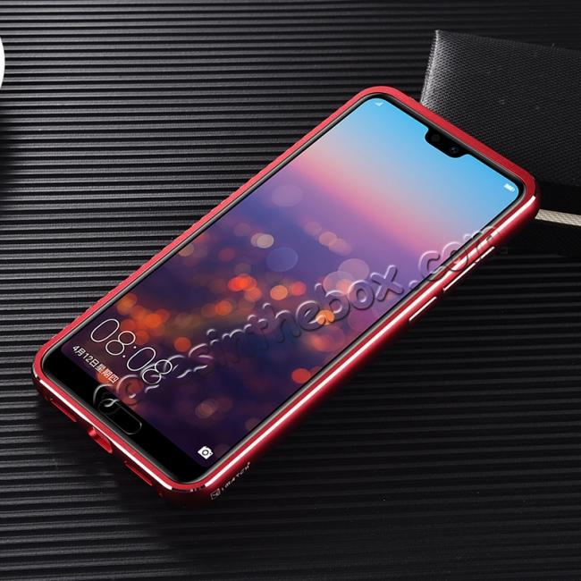 cheap Aluminium Bumper + Carbon Fiber Cover With Stand Case For  HuaWei P20 - Red&Black