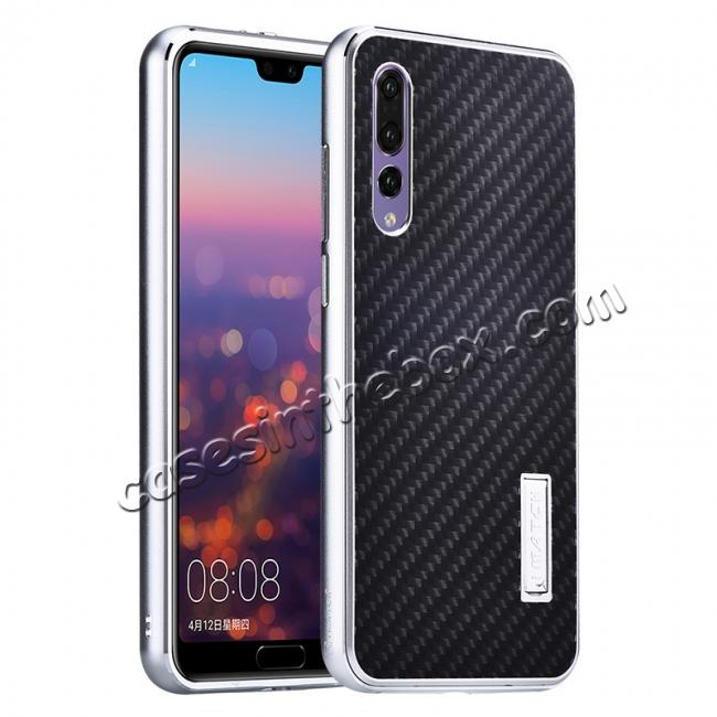 wholesale Aluminium Bumper + Carbon Fiber Cover With Stand Case For  HuaWei P20 - Silver&Black