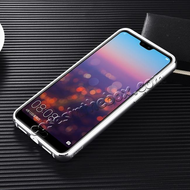 cheap Aluminium Bumper + Carbon Fiber Cover With Stand Case For  HuaWei P20 - Silver&Black