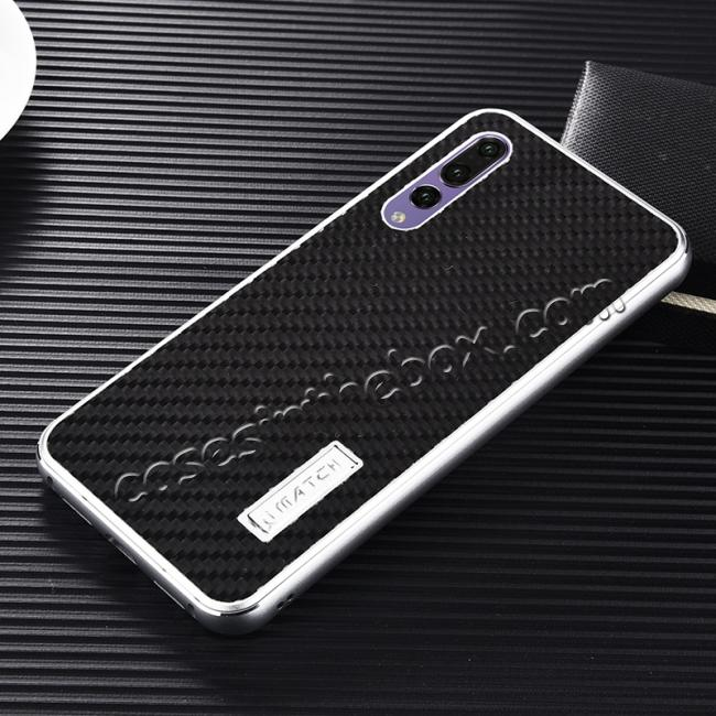 discount Aluminium Bumper + Carbon Fiber Cover With Stand Case For  HuaWei P20 - Silver&Black