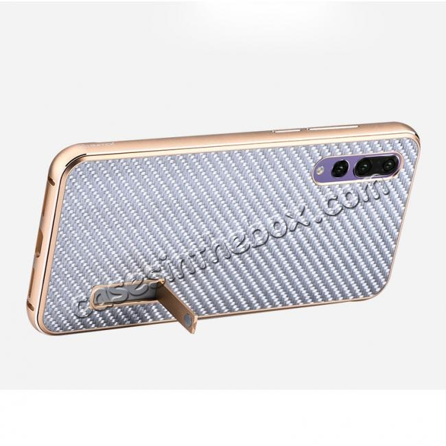 top quality Aluminium Bumper + Carbon Fiber Cover With Stand Case For  HuaWei P20 - Silver&Black