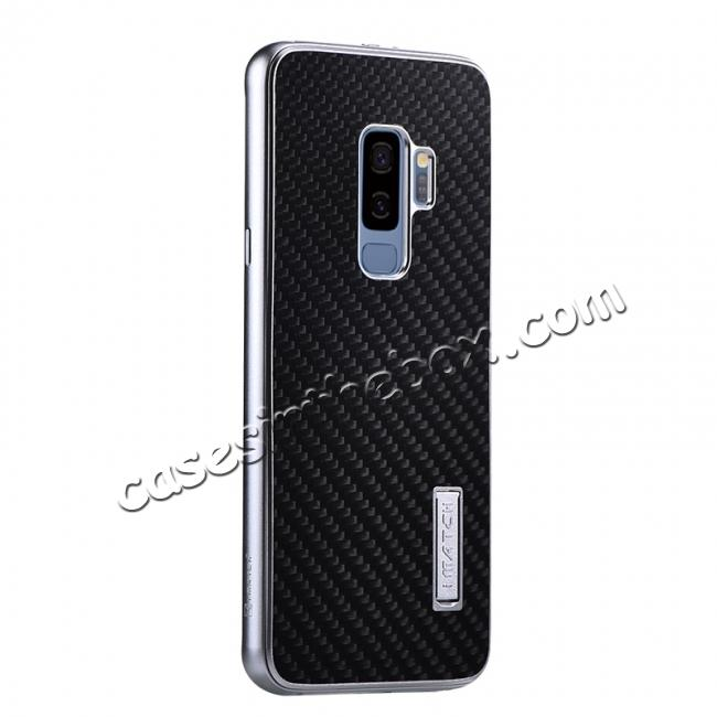 wholesale Aluminium Metal Frame + Carbon Back Cover Case For Samsung Galaxy S9 Plus - Silver&Black