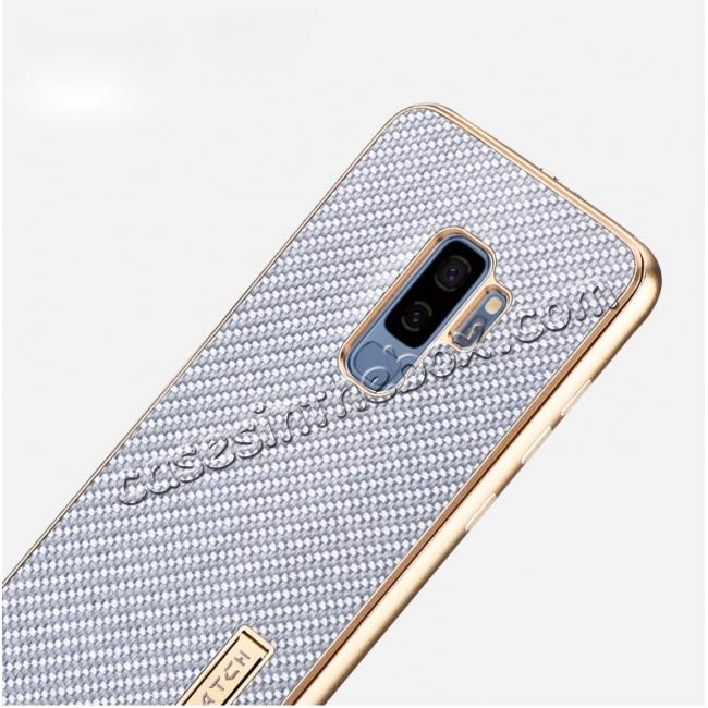 cheap Aluminium Metal Frame + Carbon Back Cover Case For Samsung Galaxy S9 Plus - Silver&Black