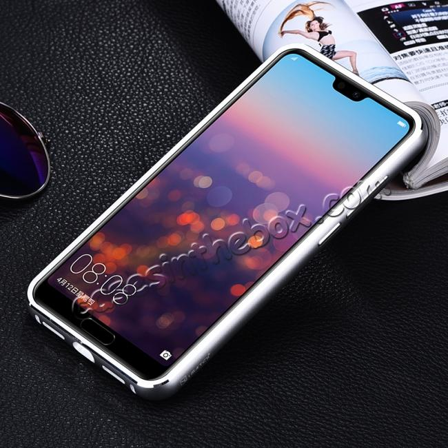 cheap Aluminum Genuine Leather Hybrid Stand Case for HuaWei P20 Pro - Silver&Black