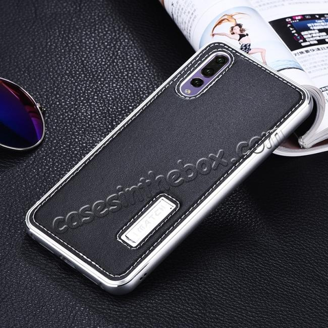 discount Aluminum Genuine Leather Hybrid Stand Case for HuaWei P20 Pro - Silver&Black