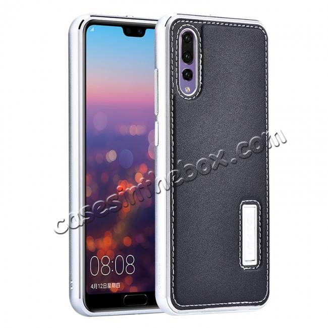 wholesale Aluminum Genuine Leather Hybrid Stand Case for HuaWei P20 Pro - Silver&Black