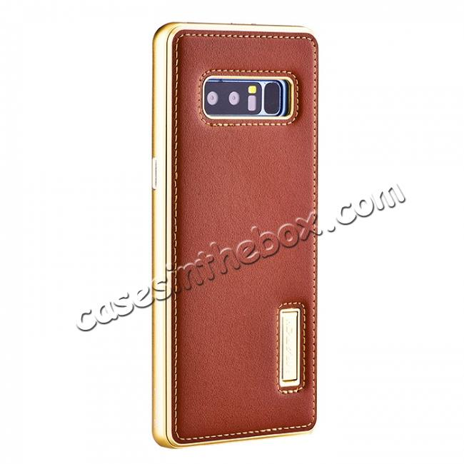 wholesale Aluminum Metal Bumper Genuine Leather Kickstand Case for Samsung Galaxy Note 8 - Gold&Brown
