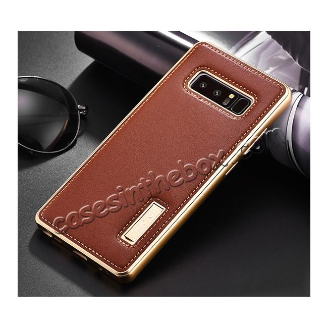 discount Aluminum Metal Bumper Genuine Leather Kickstand Case for Samsung Galaxy Note 8 - Gold&Brown