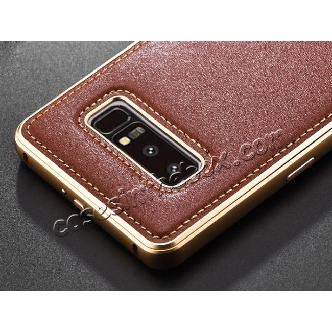 top quality Aluminum Metal Bumper Genuine Leather Kickstand Case for Samsung Galaxy Note 8 - Gold&Brown
