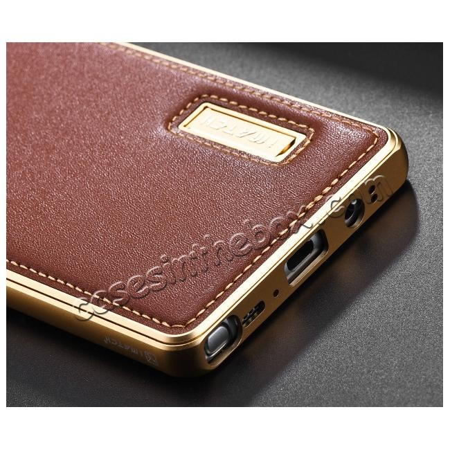 best price Aluminum Metal Bumper Genuine Leather Kickstand Case for Samsung Galaxy Note 8 - Gold&Brown