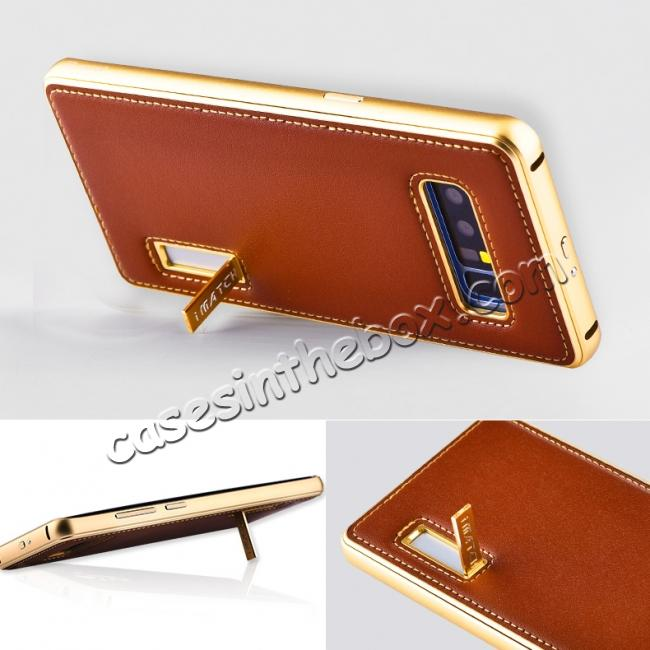 on sale Aluminum Metal Bumper Genuine Leather Kickstand Case for Samsung Galaxy Note 8 - Gold&Brown