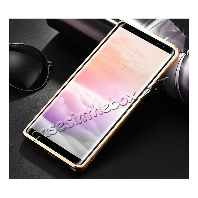 cheap Aluminum Metal Bumper Genuine Leather Kickstand Case for Samsung Galaxy Note 8 - Gold&Brown