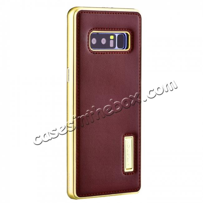 wholesale Aluminum Metal Bumper Genuine Leather Kickstand Case for Samsung Galaxy Note 8 - Gold&Wine Red