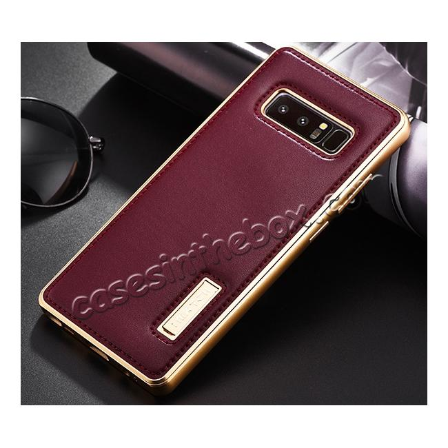 cheap Aluminum Metal Bumper Genuine Leather Kickstand Case for Samsung Galaxy Note 8 - Gold&Wine Red