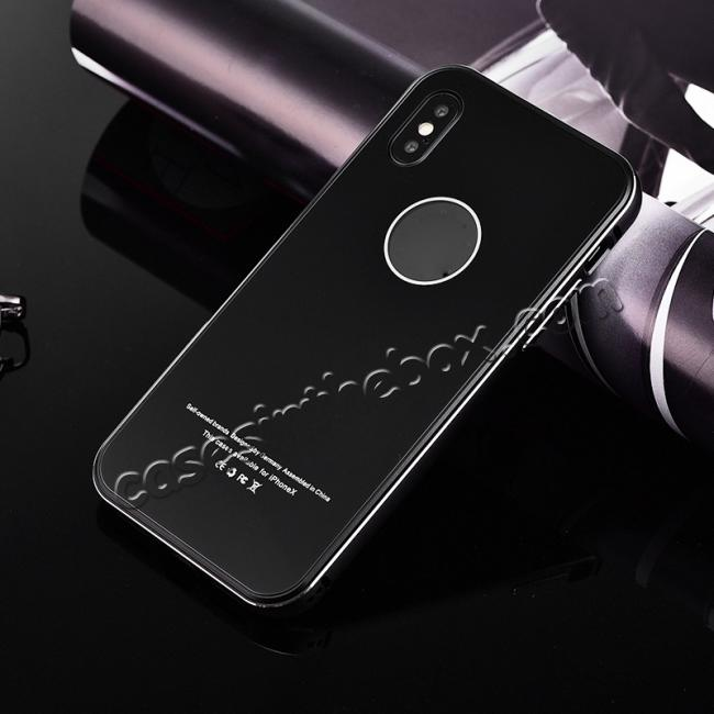 discount Aluminum Metal Bumper with Tempered glass Cover Case for iPhone XS / X - Black
