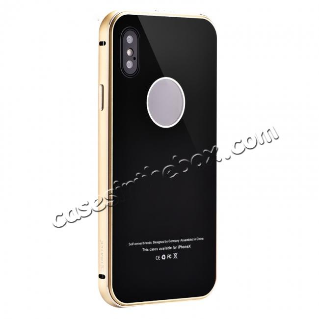 wholesale Aluminum Metal Bumper with Tempered glass Cover Case for iPhone X - Gold&Black