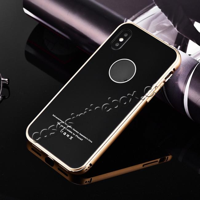 discount Aluminum Metal Bumper with Tempered glass Cover Case for iPhone X - Gold&Black