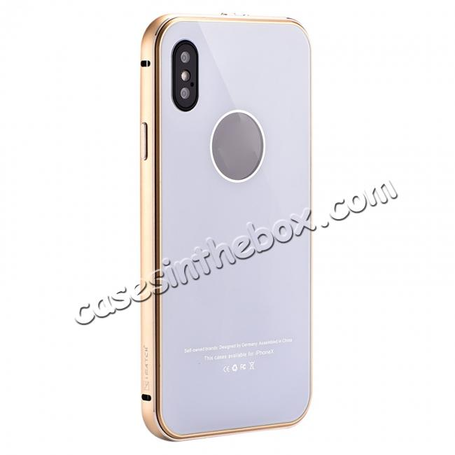 wholesale Aluminum Metal Bumper with Tempered glass Cover Case for iPhone X - Gold&White