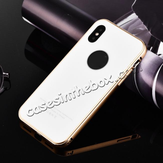 discount Aluminum Metal Bumper with Tempered glass Cover Case for iPhone X - Gold&White