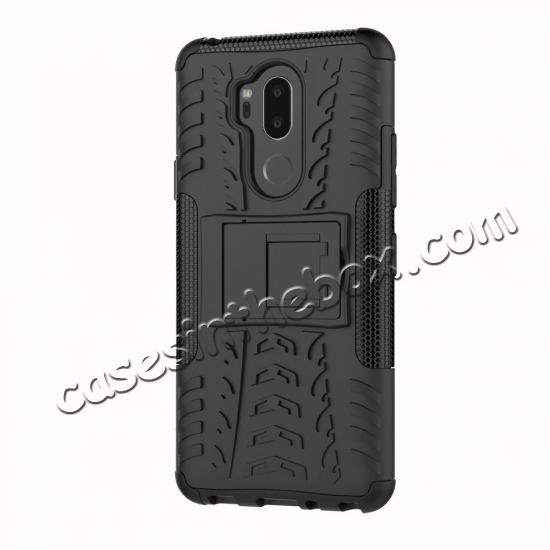 top quality Case For LG G7 ThinQ Rugged Armor Shockproof Hybrid Kickstand Phone Cover - Black