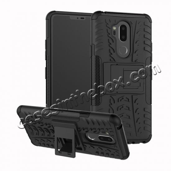 wholesale Case For LG G7 ThinQ Rugged Armor Shockproof Hybrid Kickstand Phone Cover - Black