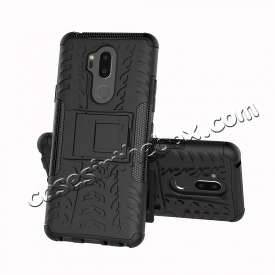 discount Case For LG G7 ThinQ Rugged Armor Shockproof Hybrid Kickstand Phone Cover - Black