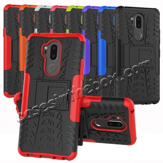 cheap Case For LG G7 ThinQ Rugged Armor Shockproof Hybrid Kickstand Phone Cover - Black