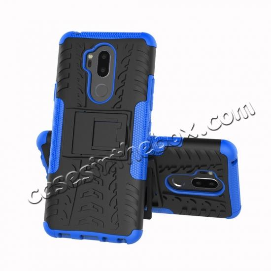 discount Case For LG G7 ThinQ Rugged Armor Shockproof Hybrid Kickstand Phone Cover - Blue