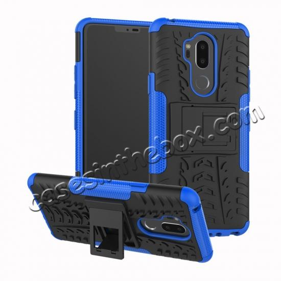 wholesale Case For LG G7 ThinQ Rugged Armor Shockproof Hybrid Kickstand Phone Cover - Blue