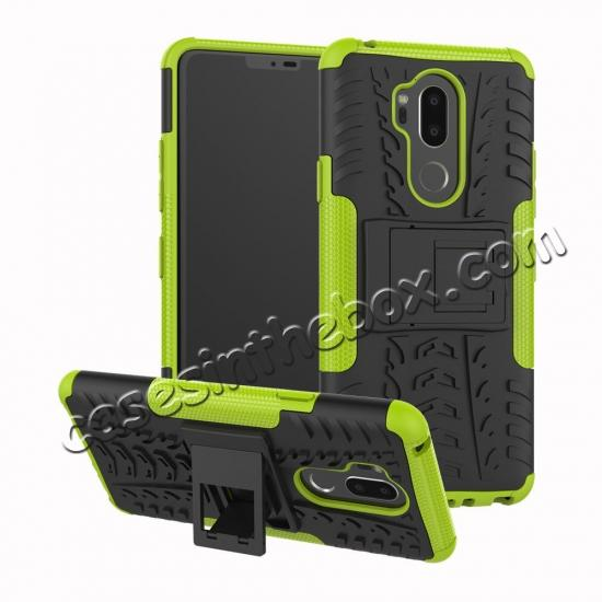 wholesale Case For LG G7 ThinQ Rugged Armor Shockproof Hybrid Kickstand Phone Cover - Green