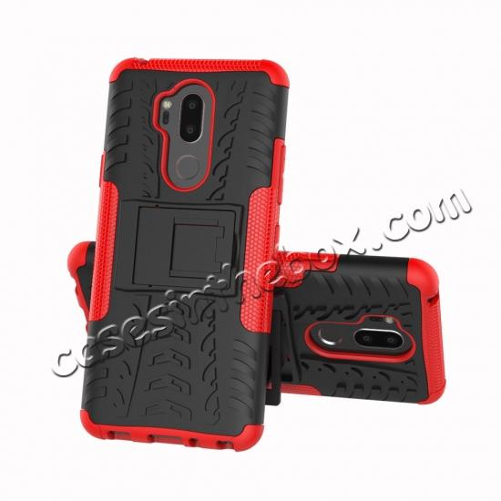 discount Case For LG G7 ThinQ Rugged Armor Shockproof Hybrid Kickstand Phone Cover - Red