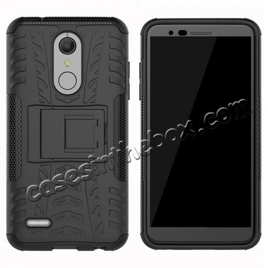 top quality Case For LG K30 / K10 2018 Rugged Armor Defender Kickstand Phone Cover - Black