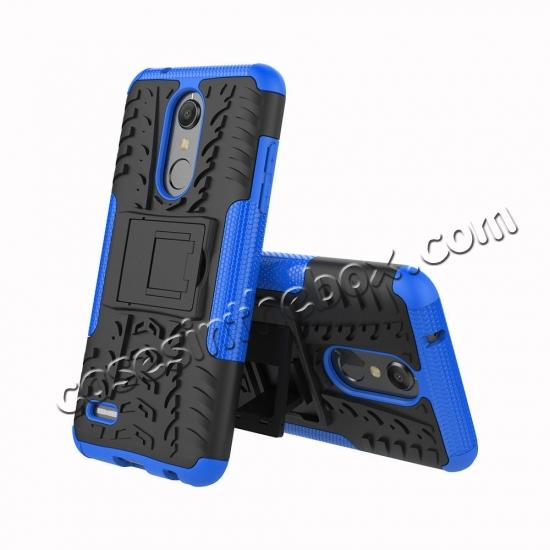 discount Case For LG K30 / K10 2018 Rugged Armor Defender Kickstand Phone Cover - Blue