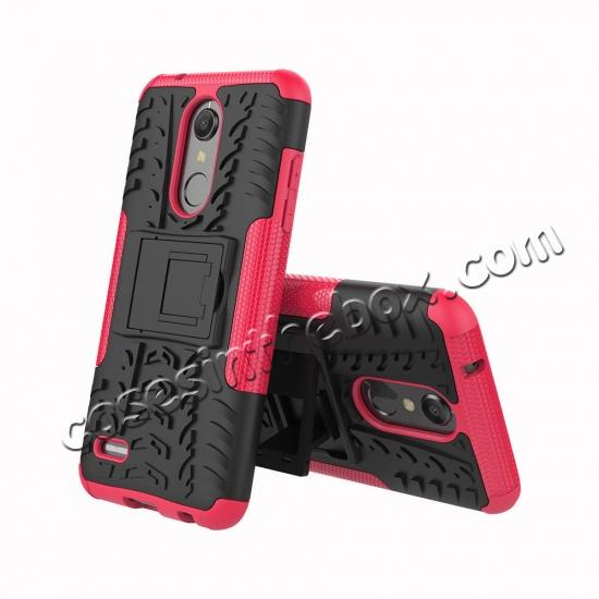 discount Case For LG K30 / K10 2018 Rugged Armor Defender Kickstand Phone Cover - Hot pink