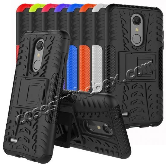 cheap Case For LG K30 / K10 2018 Rugged Armor Defender Kickstand Phone Cover - Orange