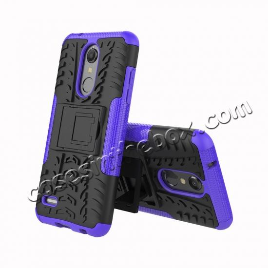discount Case For LG K30 / K10 2018 Rugged Armor Defender Kickstand Phone Cover - Purple