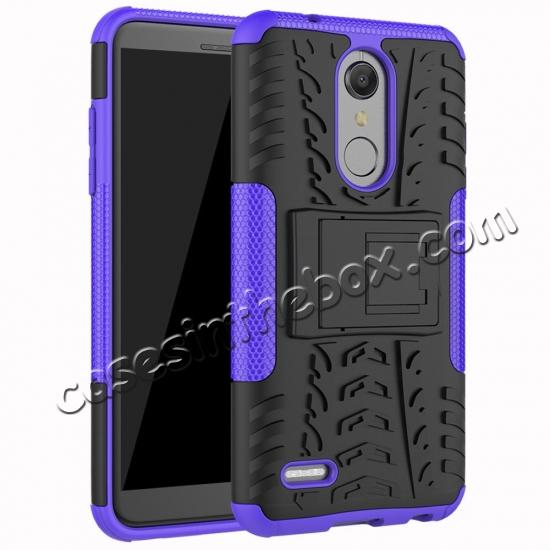 wholesale Case For LG K30 / K10 2018 Rugged Armor Defender Kickstand Phone Cover - Purple
