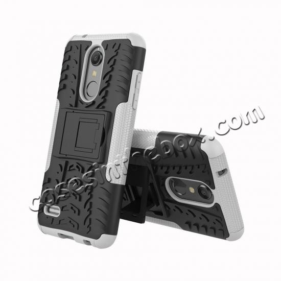 discount Case For LG K30 / K10 2018 Rugged Armor Defender Kickstand Phone Cover - White