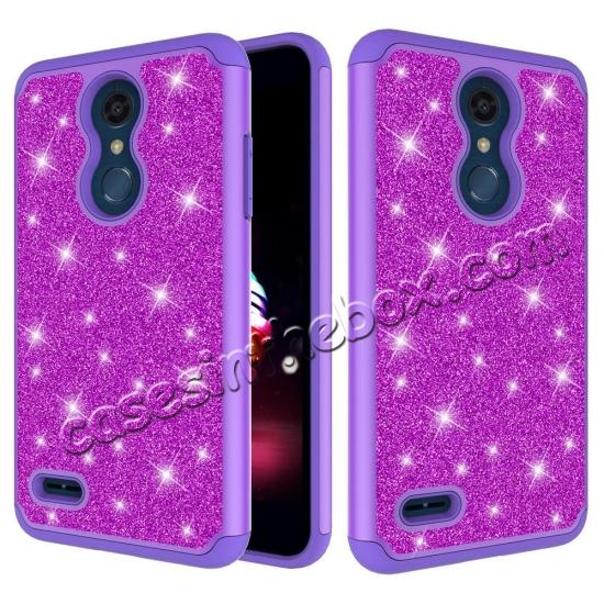 wholesale Cases For LG K30 / LG K10 2018 Shock Absorbing Glitter Bling Rubber Protective Case Cover - Purple