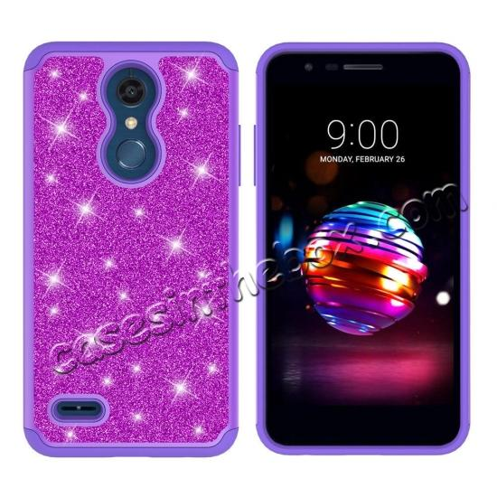 discount Cases For LG K30 / LG K10 2018 Shock Absorbing Glitter Bling Rubber Protective Case Cover - Purple